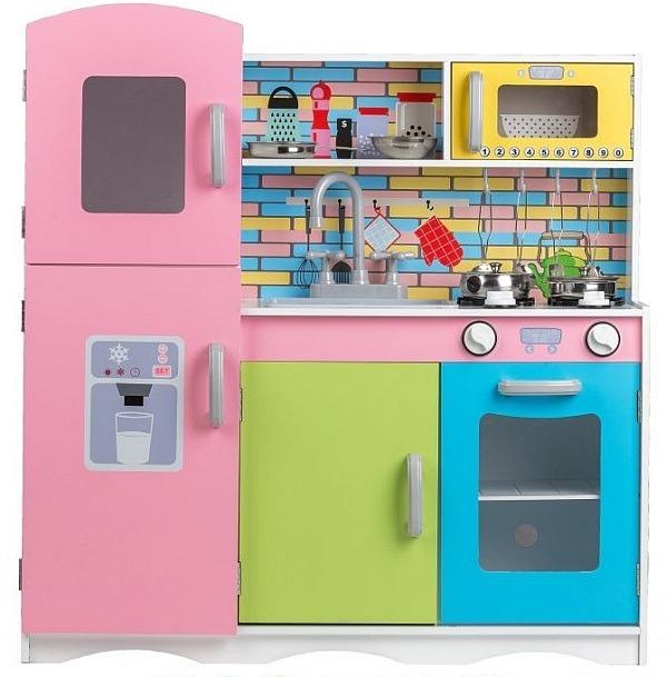 Duza Kuchnia Drewniana Kolorowe Pastelowe Kafelki Kuchnie Dla Dzieci Zielonezabawki Pl