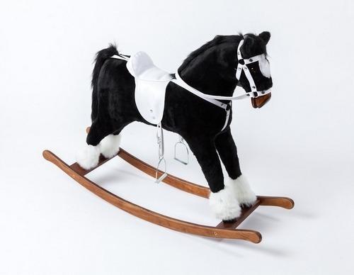 Czarny Koń Dla Dzieci Z Jasnym Siodłem Koń Na Biegunach