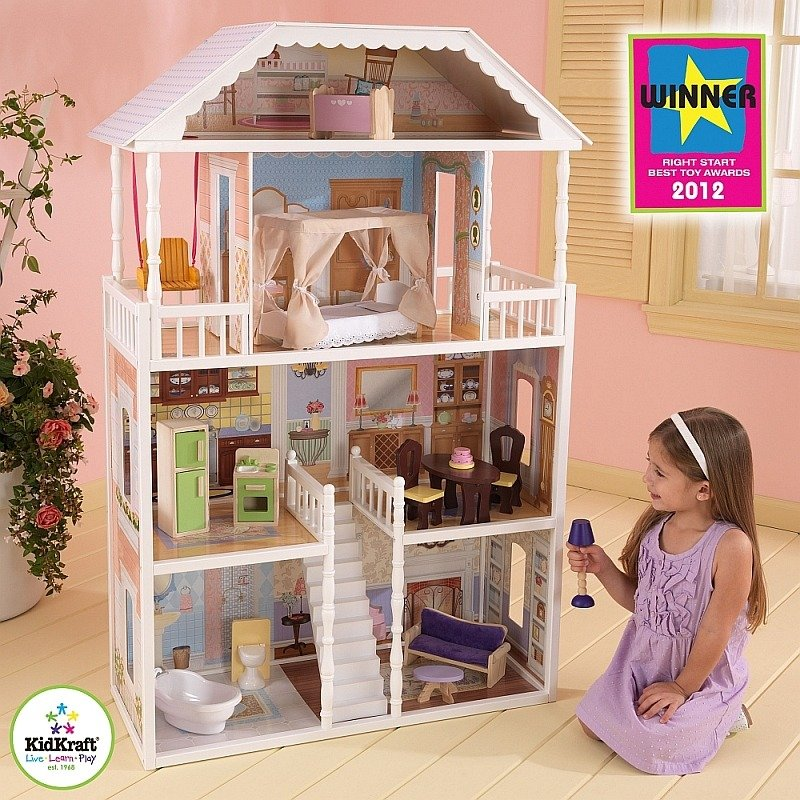 drewniany domek dla lalek savannah kidkraft domki dla lalek. Black Bedroom Furniture Sets. Home Design Ideas