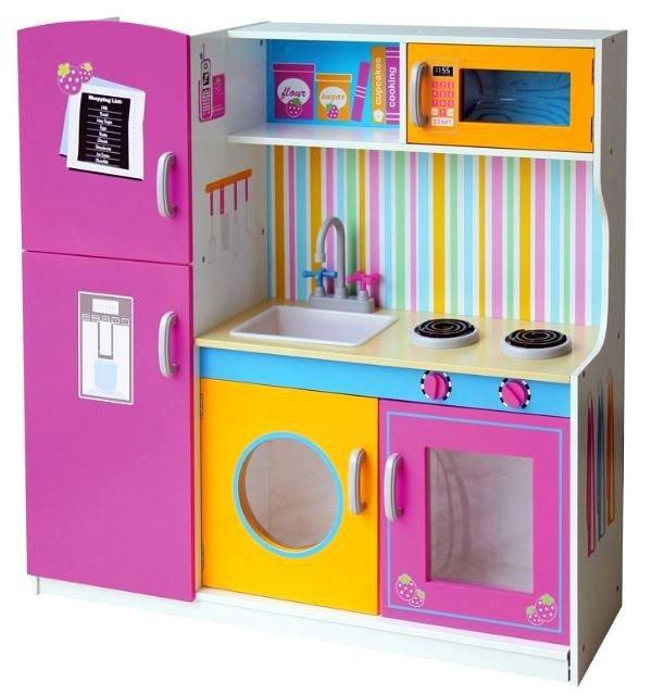 Duza Kuchnia Drewniana Kolorowa Zabudowa Kuchnie Dla Dzieci