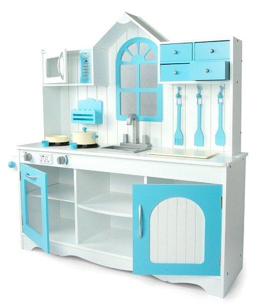 Duza Kuchnia Drewniana Niebieskie Okienko Kuchnie Dla Dzieci