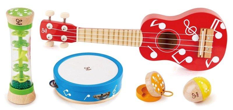 Instrumenty dla dzieci w zestawie, Kolorowe nutki, E0339 Hape, zabawki muzyczne