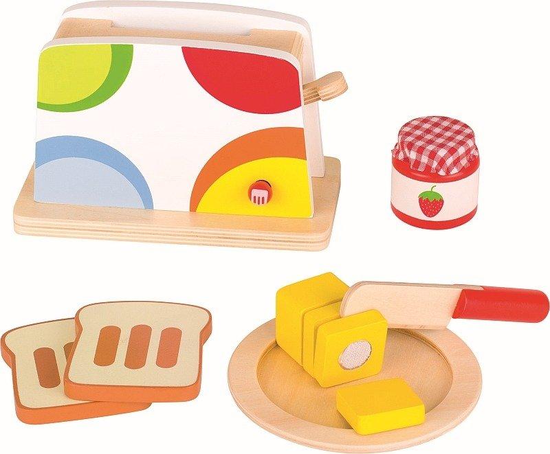 Kolorowy Toster Z Drewna Z Akcesoriami W Zestawie 51583 Goki Mała Kuchnia Dla Dzieci
