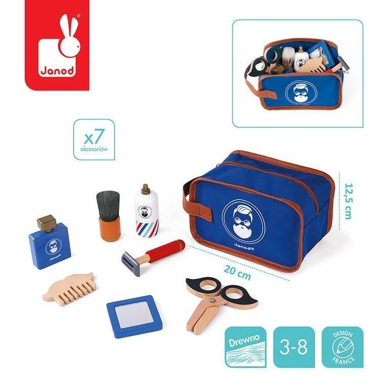 Kosmetyczka Z 7 Akcesoriami Zestaw Do Golenia J06548 Janod Mały Barber Zabawki Dla Chłopców Zielonezabawki Pl