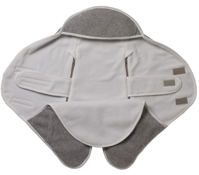BABYNOMADE T2 6-12M - DOUBLE FLEECE LIGHT GREY/WHITE 0837149- Red Castle, otulacz dla maluszka